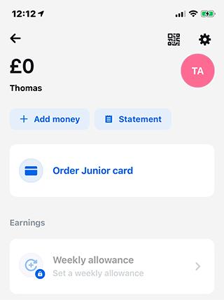 Revolut Junior weekly allowance
