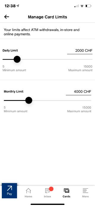 CSX card limits
