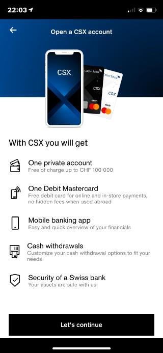 CSX - Bank account opening
