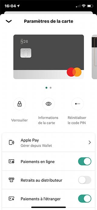 N26 card settings